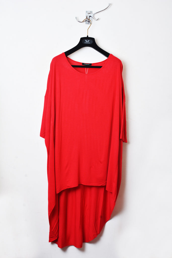 UNCONDITIONAL Red rayon long tail tee.