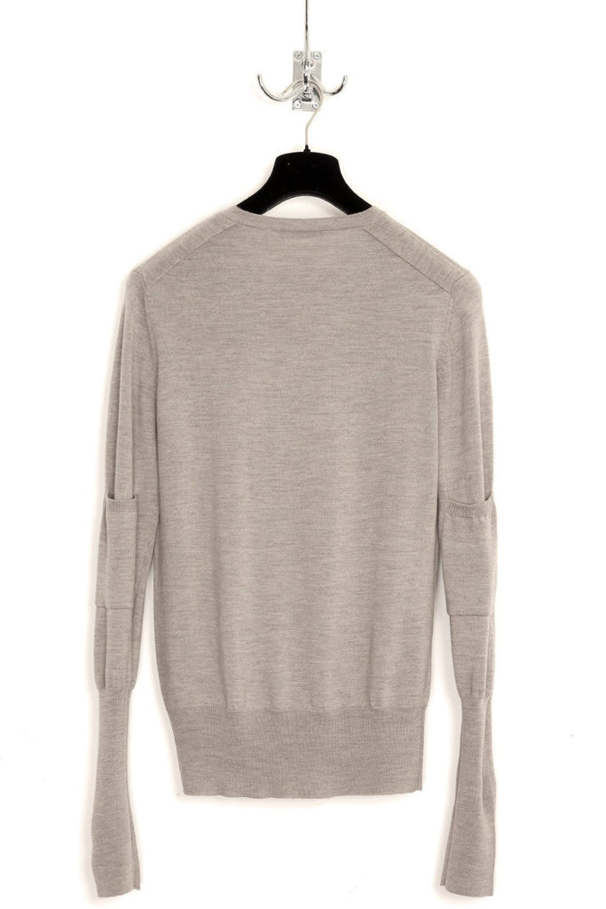 UNCONDITIONAL Greige double V-neck jumper with elbow patch pocket.