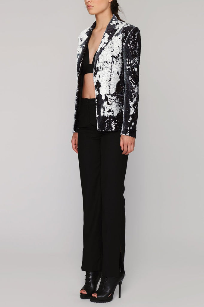 UNCONDITIONAL SS19 Black | White combable sequin one button jacket
