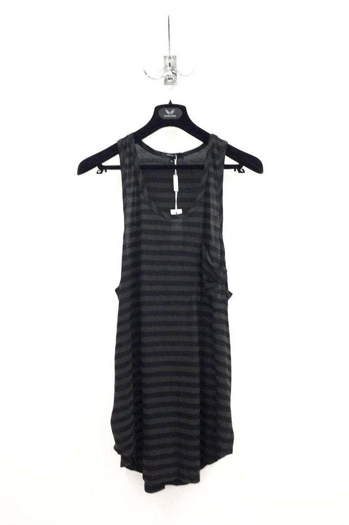 UNCONDITIONAL Black and coal drape pocket striped long jersey vest
