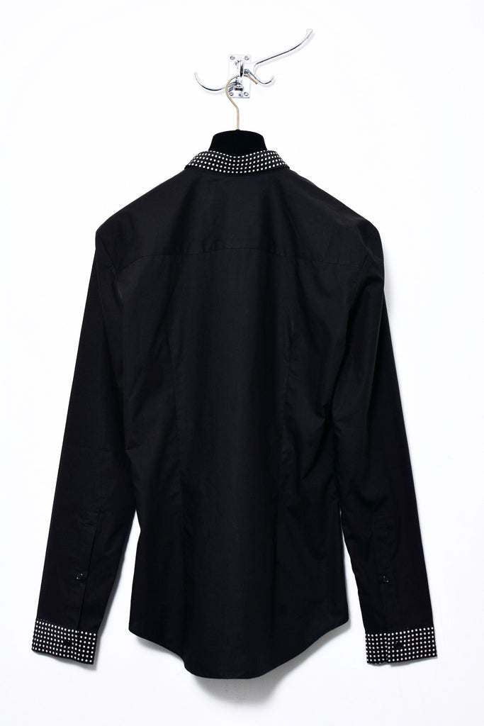 UNCONDITIONAL Black long sleeved shirt with silk polka dot collar , placket and cuffs