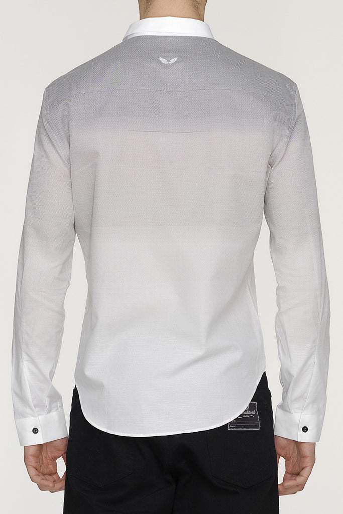 UNCONDITIONAL Grey to white shaded long sleeved baby collar shirt.