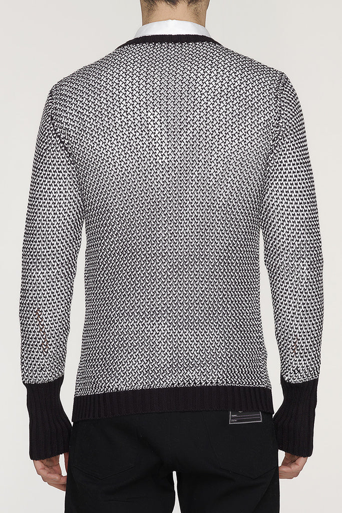 UNCONDITIONAL bi-tonal mesh knitted cardigan in black and white