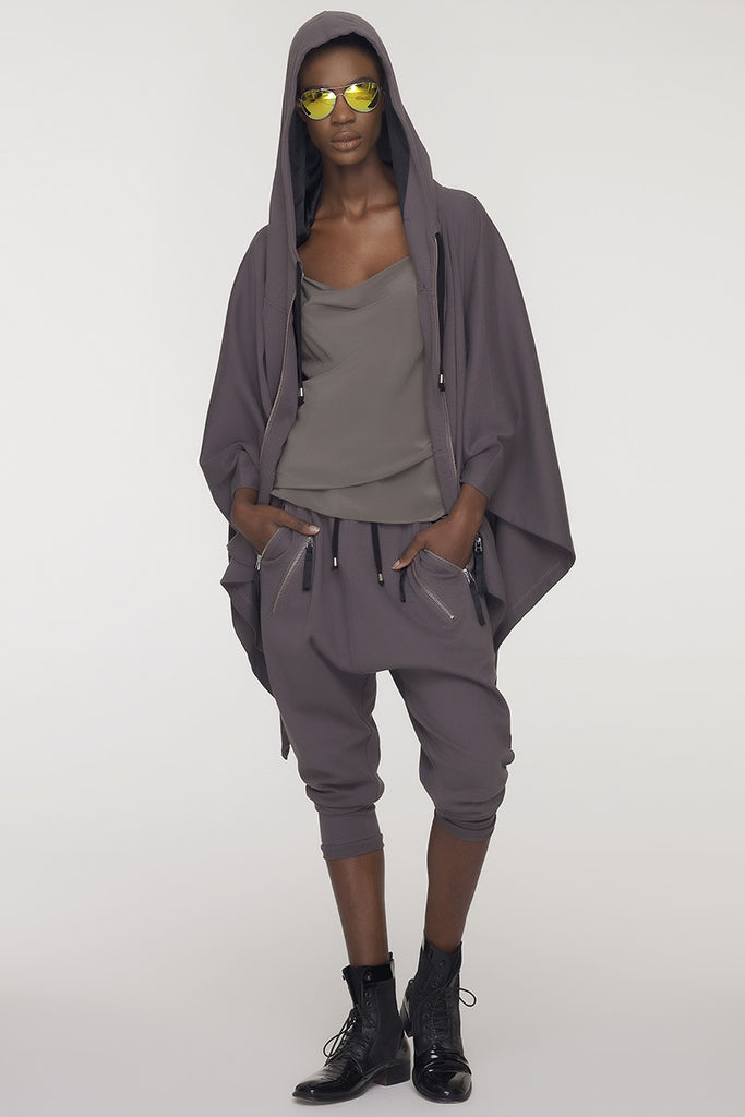 UNCONDITIONAL Military grey hooded festival poncho