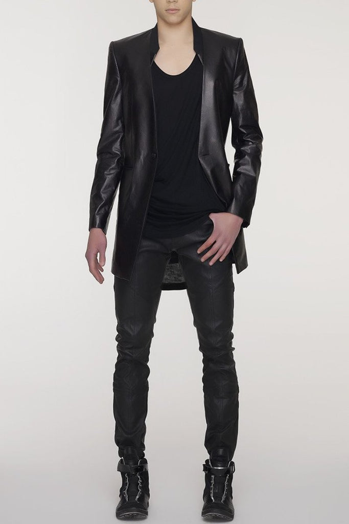 UNCONDITIONAL black long 1 button tailored jacket with leather front and sleeves.