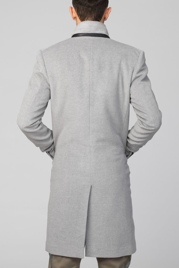 "UNCONDITIONAL's SILVER GREY ""CLASSIC"" WOOL ANGORA MENS SINGLE BREASTED COAT"