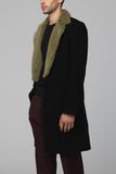 UNCONDITIONAL AW19 one button coat with military moss mink collar