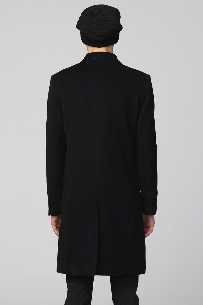"UNCONDITIONAL BLACK ""CLASSIC"" WOOL CASHMERE MENS SINGLE BREASTED COAT"
