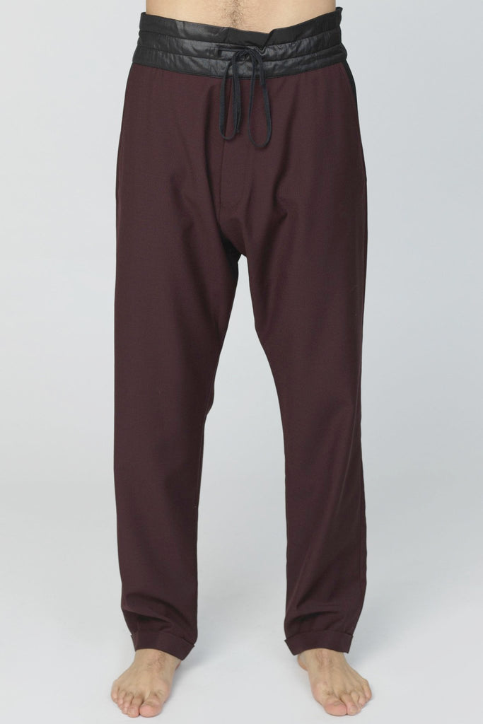 UNCONDITIONAL AW17 Burgundy and Black tapered double pocket trousers with turn up