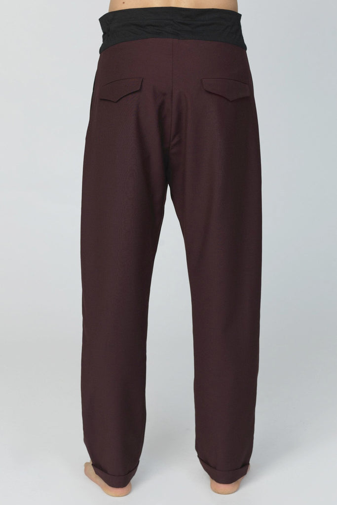 UNCONDITIONAL Burgundy tapered double pocket trousers with turn up