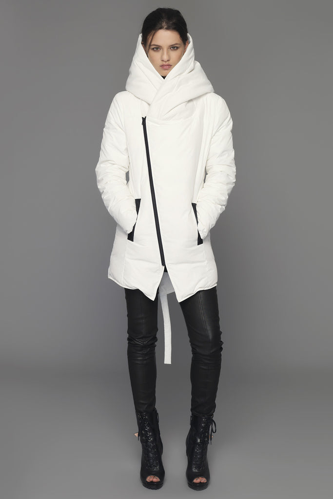 UNCONDITIONAL Chalk ladies hooded goose down zip up parka.