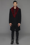 UNCONDITIONAL Black pure wool coat with Cardinal Red Rex Rabbit collar.