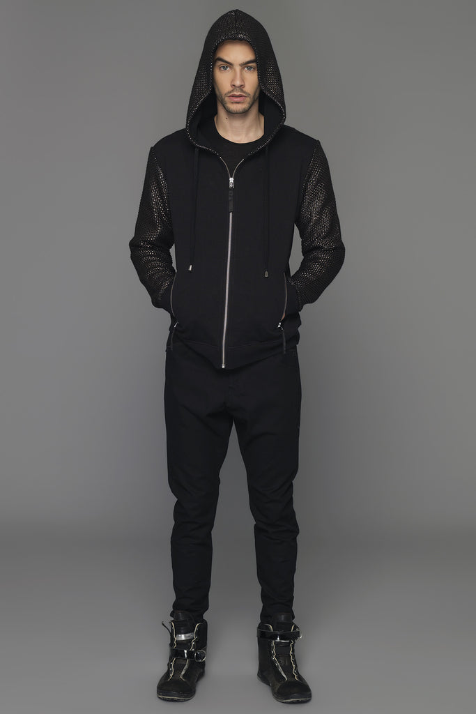UNCONDITIONAL Black sweat zip up hoodie with bronze foil knit contrast sleeves and hood.