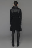 UNCONDITIONAL Signature Black double layered front drape hooded storm coat.