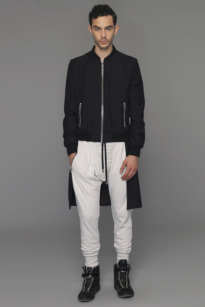 UNCONDITIONAL Signature black tailcoat bomber jacket with heavy exposed silver zip detailing