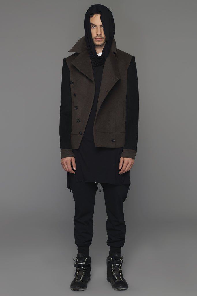 UNCONDITIONAL AW16 dark army and black short asymmetric coat with contrast sleeves