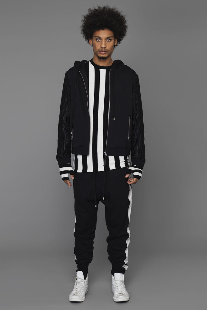 UNCONDITIONAL Sweat shirting zip up hoodie with contrast knitted foiled sleeves and hood.