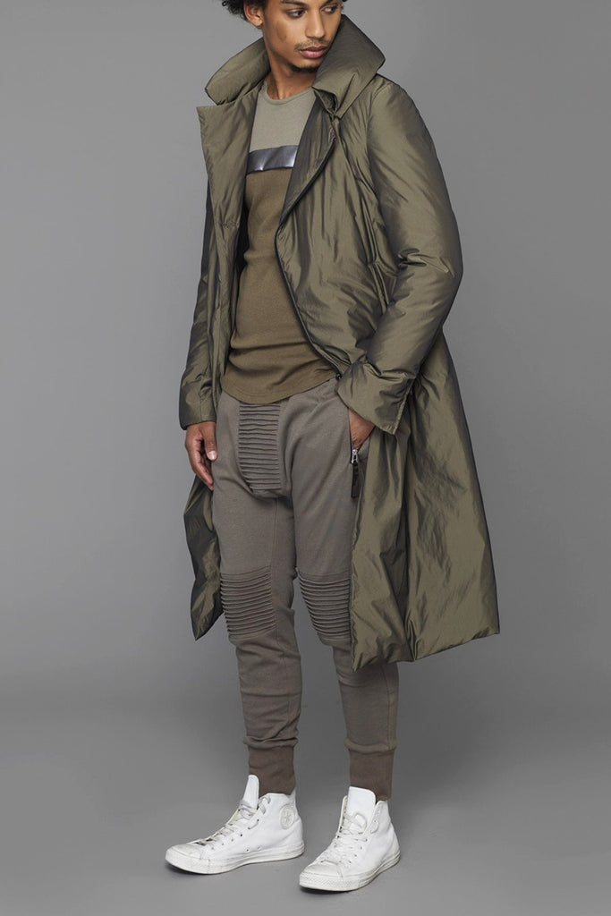 UNCONDITIONAL Military long goose down asymmetric hem coat with a zip off pillow neck.