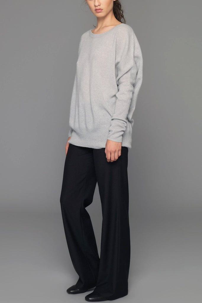 UNCONDITIONAL cement grey cashmere oversized crew neck jumper.