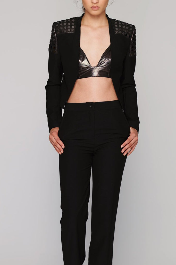 UNCONDITIONAL SS19 black cropped bronze leather studded shoulder jacket