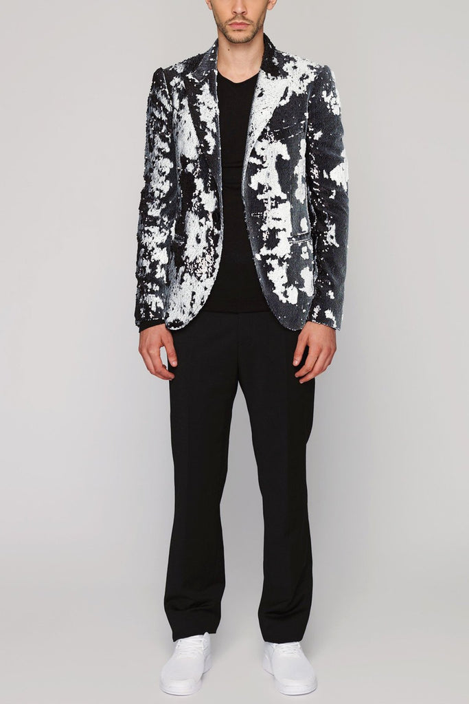 UNCONDITIONAL Black and white peak lapel one button sequin jacket
