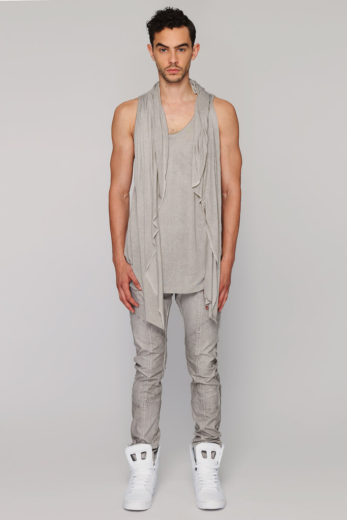 UNCONDITIONAL Cloud Grey cold dyed hooded cape vest.