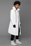 UNCONDITIONAL Chalk long goose down asymmetric hem coat with a zip off pillow neck.