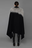 UNCONDITIONAL Black scarf cape in black pure wool coating and dirty grey Mongolian sheepskin