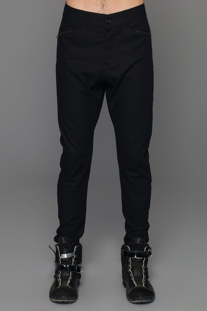 UNCONDITIONAL Black signature drop crotch jeans with a black taped back zip detail