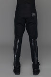 UNCONDITIONAL Black back-zip, drop crotch jeans with rainbow tape