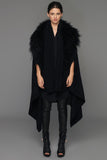 UNCONDITIONAL AW17 Black scarf cape in pure wool with black Mongolian sheepskin