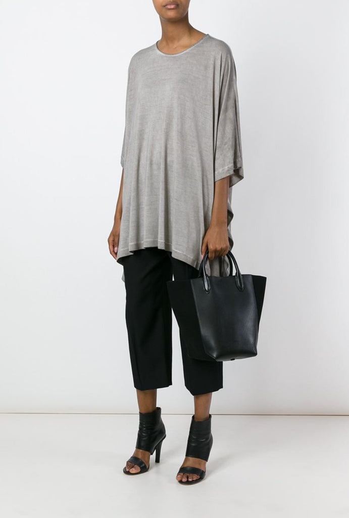 UNCONDITIONAL Double drape heavy rayon T-shirt in sand cold dye