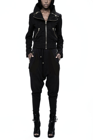 UNCONDITIONAL Black | Off White horizontal striped harem track pants