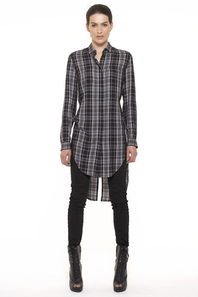 UNCONDITIONAL Black and Off White Check long ladies shirt with split tail and back strap