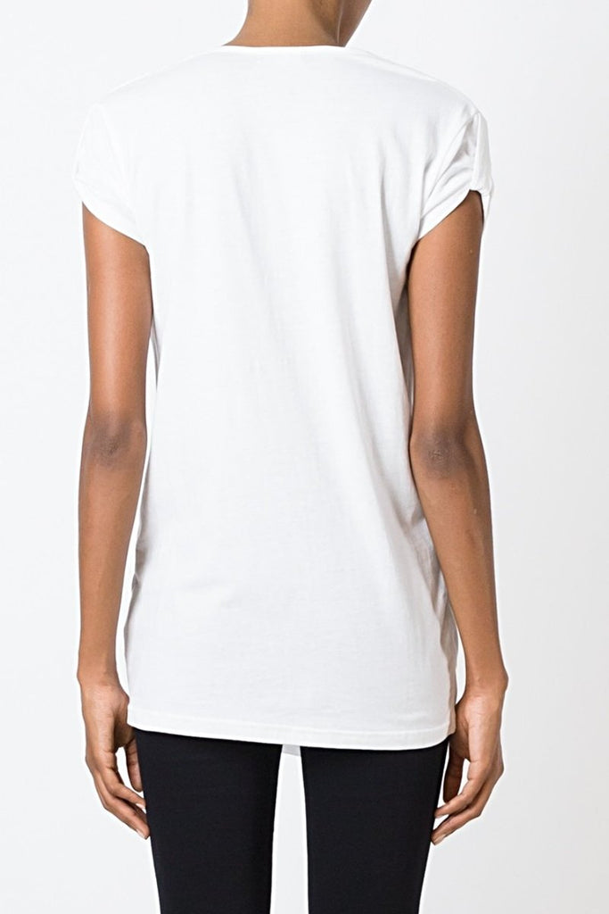 UNCONDITIONAL SS18 ladies White pull up sleeved double front draped t-shirt