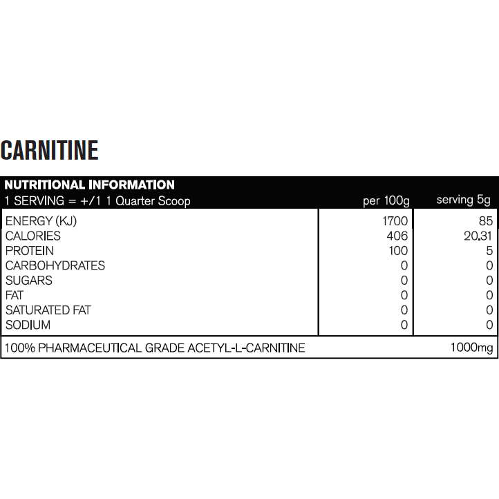 JD Nutraceuticals Acetyl L-Carnitine 100 serves