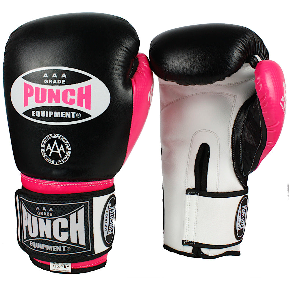TROPHY GETTERS® COMMERCIAL BOXING GLOVES PINK/BLACK 10OZ