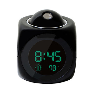 XNCH LCD Projection LED Display Time Digital Alarm Clock Talking Voice Prompt Thermometer Snooze Function Desk
