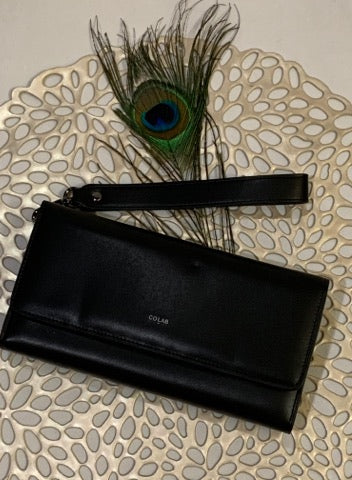 CoLAB Black Leather Clutch