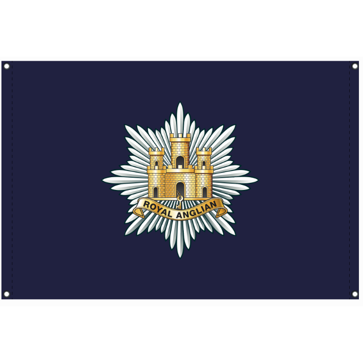 Royal Anglian Flag Knitted polyester Blue background with 'Royal Anglian' cap badge centre