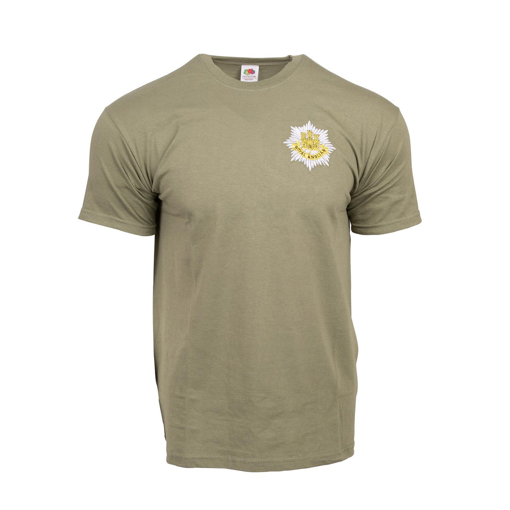 Royal Anglian Olive T-Shirt - Embroidered Cap Badge