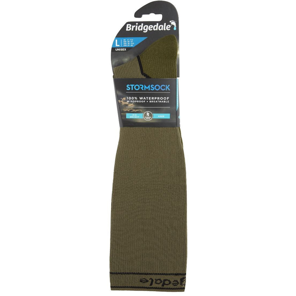 Bridgedale Waterproof Storm Sock Medium Weight Knee Khaki