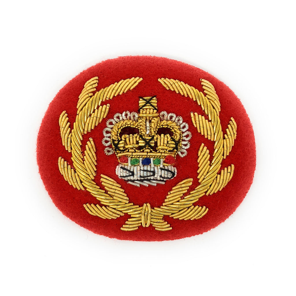 Mess Dress Crown - RQMS - Gold on Scarlet Ground