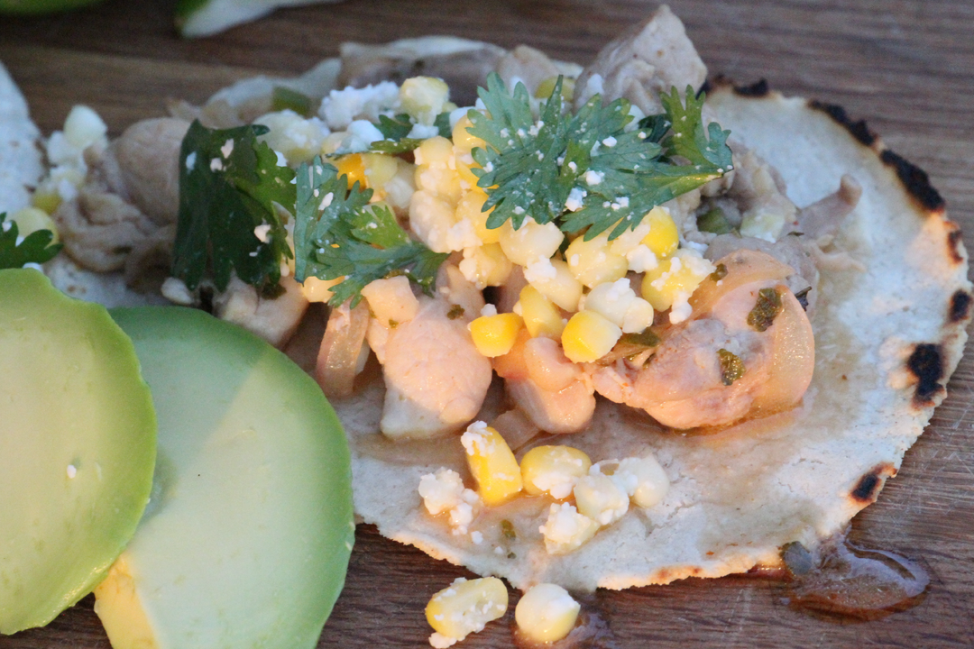 Spicy Chicken Tacos with Corn Salsa and Avocado