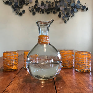 Handblown Glass Carafe - Orange Swirl