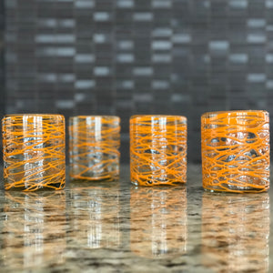 Handblown Glasses - Orange Swirl