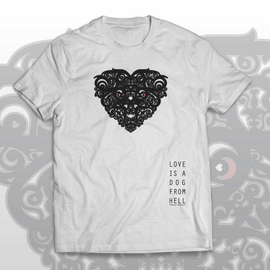 Charles Bukowski T-shirt Love is a dog from hell