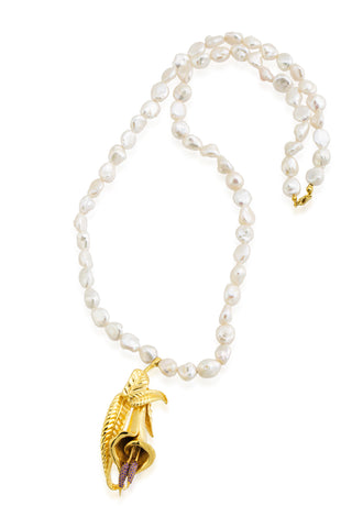 Calla Necklace with Genuine Baroque Pearls