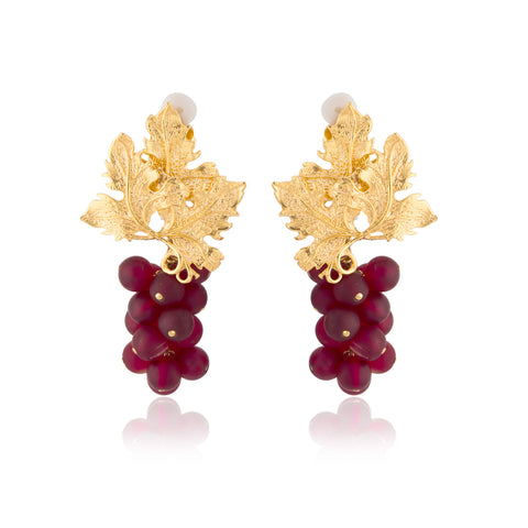 Adile Earrings in Burgundy