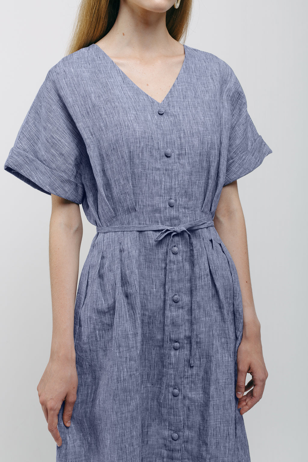 Pleated Dress with String Belt